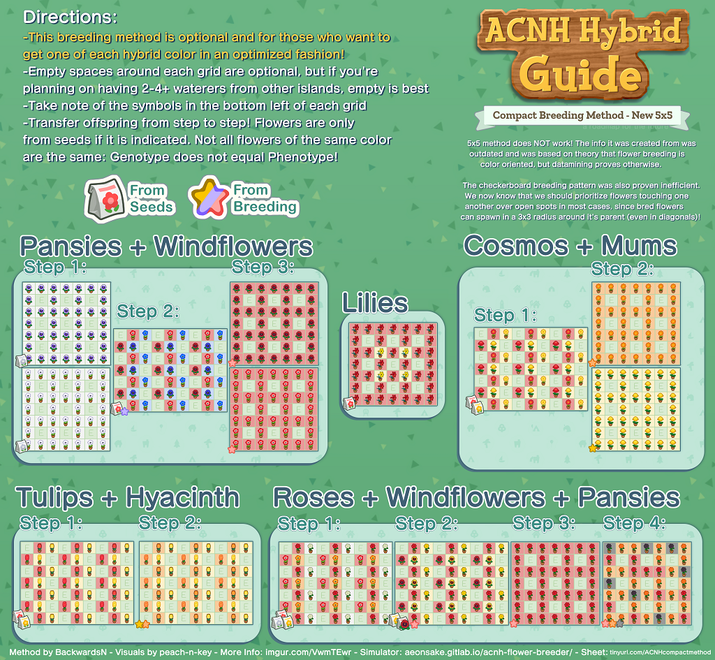 animal crossing new horizons hybrid flowers 5x5