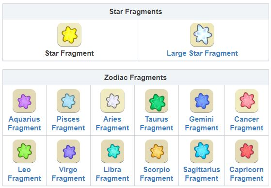 Animal Crossing New Horizons Star Fragments, Large Star Fragments, Zodiac Fragments