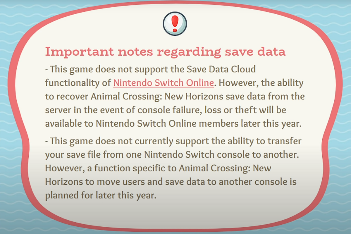 Animal Crossing New Horizons Save Data Cloud