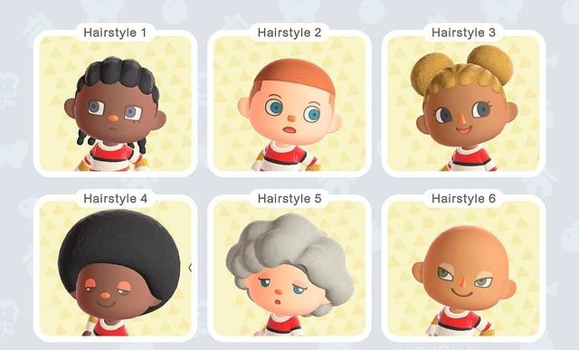 Animal Crossing New Horizons New Top 6 Hairstyles