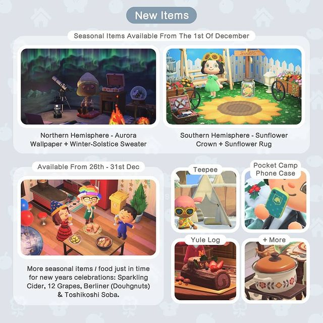 Animal Crossing New Horzions December & Winter New Items