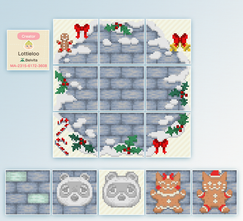 ACNH Winter & Christmas Custom Designs For Path, Floor, Furniture - 1